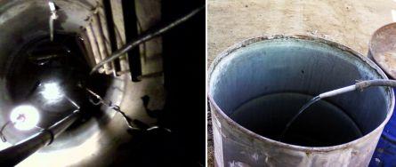 Откачка воды из колодца в бочки