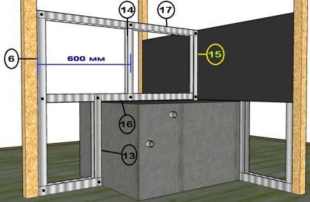 Установка перемычек задней части каркаса и центральной стойки