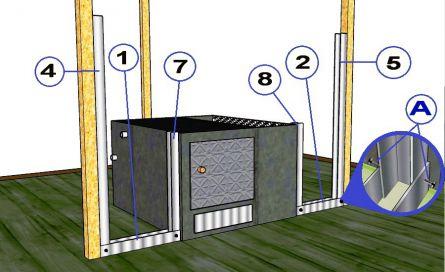 Установка передних боковых стоек каркаса