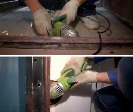 Обрезка болтов крепления металлической дверной коробки