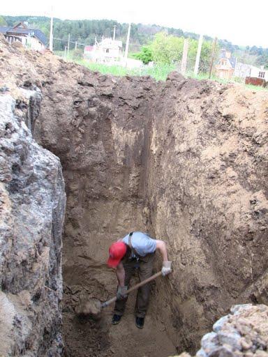 Структура грунта в разрезе (яма под септик)