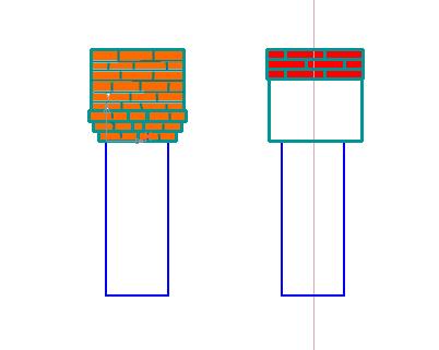 Схема уширения ленточного фундамента по средствам кладки цоколя из кирпича