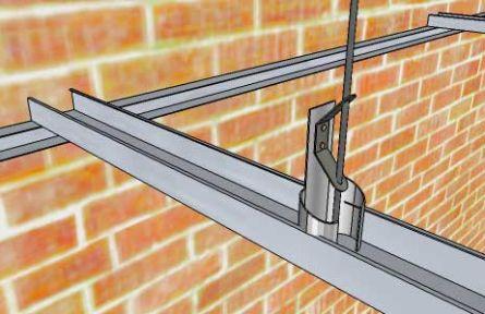 Монтаж двухуровневой системы профилей гипсокартона на потолке