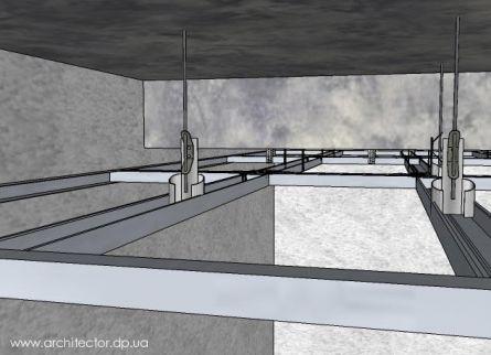 одноуровневая система профилей для гипсокартона на потолке