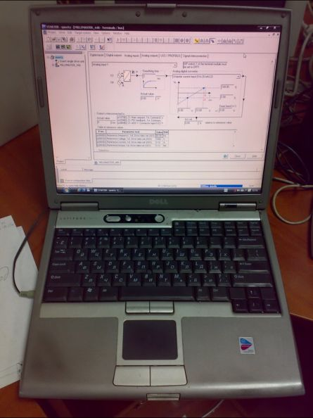 Рисунок 18 – Ноутбук с установленной программой управления частотным преобразователем.