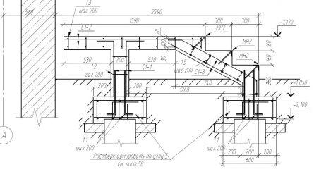 Схема армирования фундамента под крыльцо