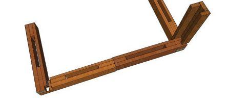 соединение угловой стойки с нижней обвязкой