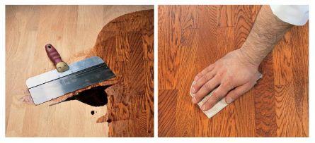 Покрытие деревянного пола маслом.