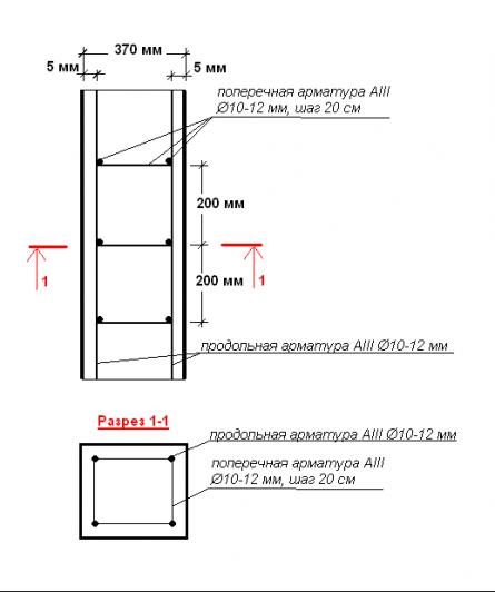 Армирование вертикальной рамы