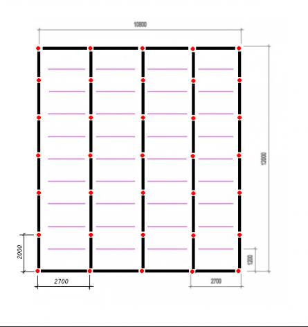 Схема фундамента. Красные точки – столбы опор (35 шт).