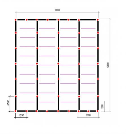 Схема фундамента. Красные точки – столбы опор (43 шт).