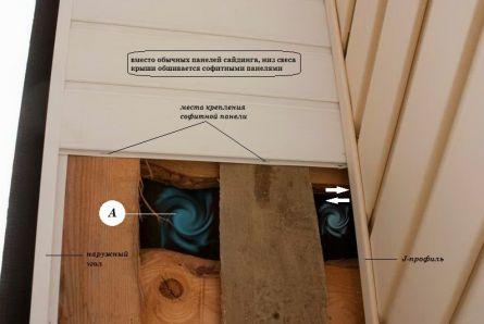 Обшивка свеса крыши софитными панелями