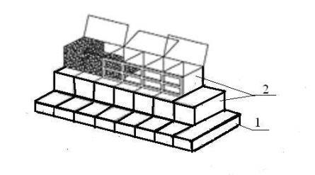 Рекомендуемая схема установки ящиков в подпорной стенке: 1- низкий ящик; 2 – высокий ящик