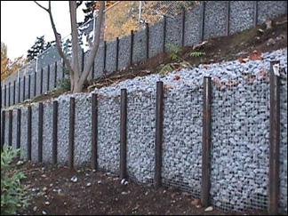 Подпорные стенки из металлической сетки.