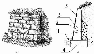 а – общий вид подпорной стенки; б – разрез подпорной стенки, где:1 – фундамент; 2 – тело; 3 – дренажное отверстие; 4 – дренажная труба; 5 – гравий.