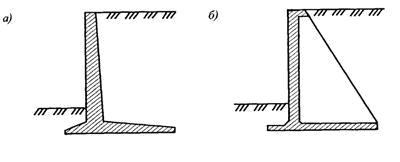 Стены уголкового профиля: а-консольная; б-контрфорсная