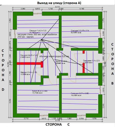Схема расстановки несущих стен и приблизительного расположения деревянных балок перекрытия