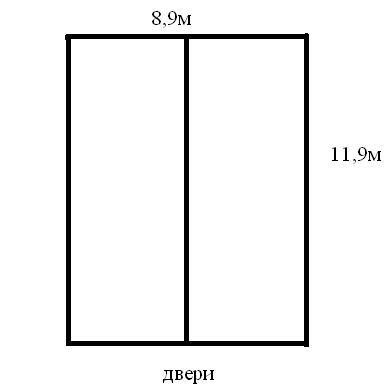 Схема фундамента дома 8,9м х 11,9м.