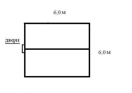 Схема фундамента (6,0 м х 6,0 м).