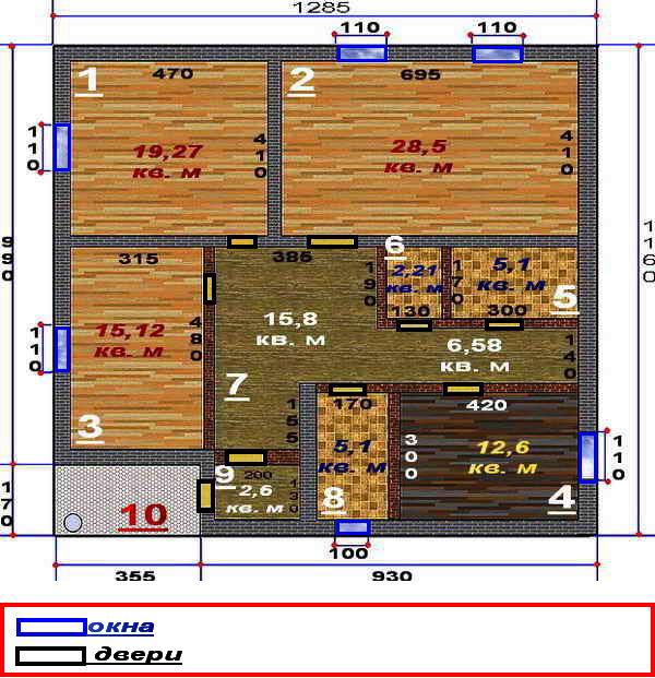 Планировка одноэтажного дома 12 на 12 фото