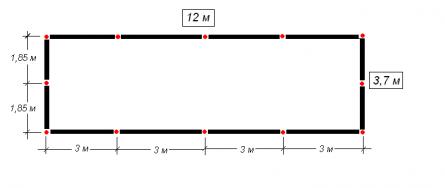 Схема фундамента. Красные точки столбы опор (12 шт).