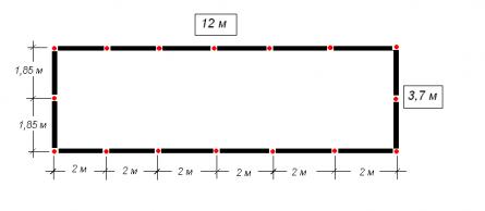 Схема фундамента. Красные точки – столбы опор (16 шт).