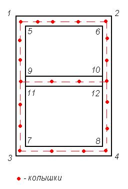 разметка мест под столбы
