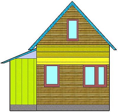 Каркасная терраса с раздельной крышей