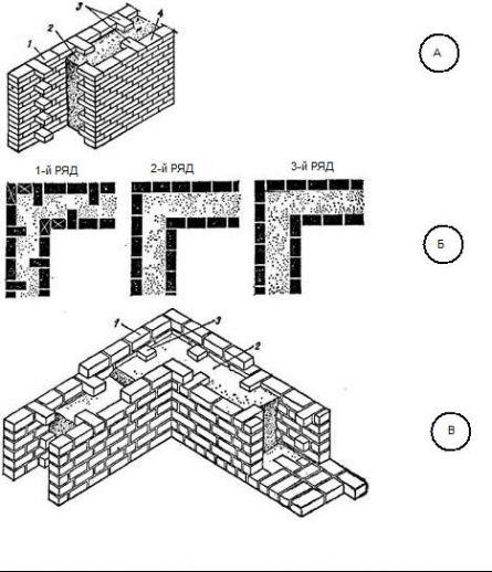 """рис. 34,  """"Кирпично-бетонная анкерная кладка  """", а - фрагмент кладки; б - порядковая раскладка кирпичей при кладке."""