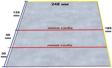 Разметка листа железа для изготовления ручки-задвижки зольника