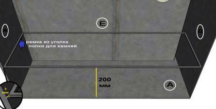 Установка в каменку рамки из уголков для устройства полки для камней