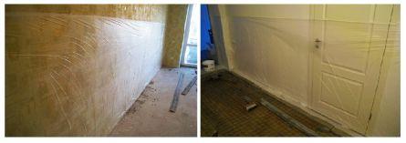 Фото. Защита стен помещения стрейч лентой на время проведения влажных работ на полу.