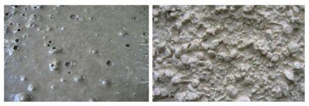 Фото. Поверхность бетонного основания при разной крупности щебеночного заполнителя. .