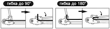 Пример гибки арматуры до 90° и 180°