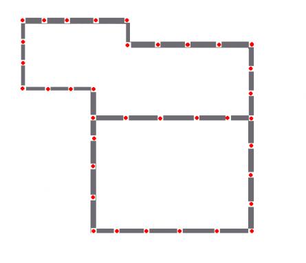 Схема фундамента. Красные точки – столбы опор (36 шт).