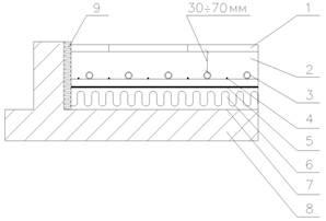 Крепление трубы теплого пола к арматурной сетке.