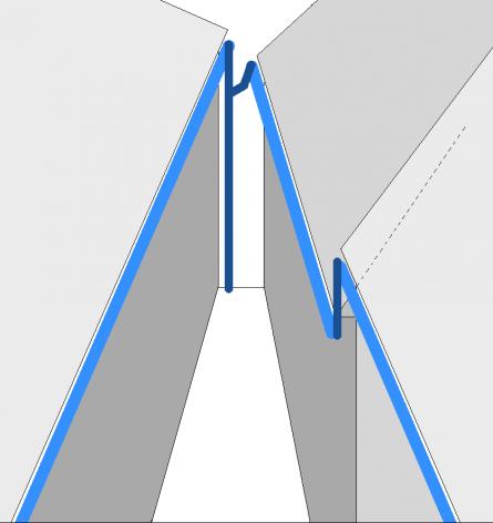 Отвод воды с крыш, расположенных на разных уровнях