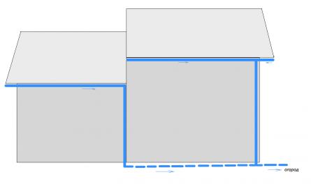 Сбор воды с двух крыш, расположенных на разных уровнях